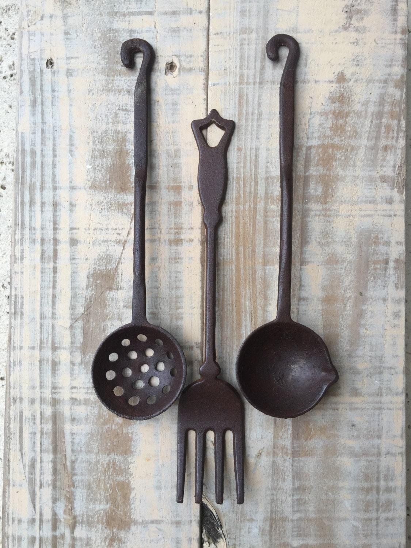 Vintage cast iron kitchen decor utensils cast iron utensil - Wrought iron silverware ...