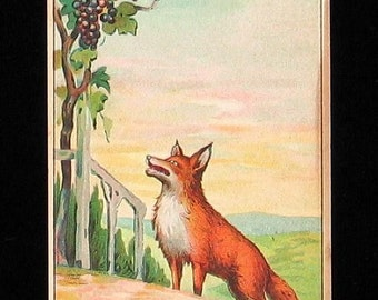 Antique Victorian Era Trade Card For Gibeson Pianos Fox & Grapes Cute  CUTE