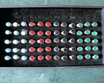 60 Vintage Tribal Rings - Red, Green, Pale Blue, and  Blue Glass from Afghanistan-Wholesale