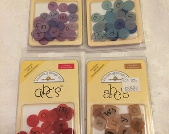 Doodlebug ALPHABET letters lot of 4 packages in lilac blue jean bonbon and ladybug colors