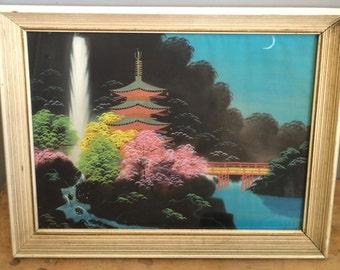 Vintage  Japanese Silk Painting Landscape Framed WWII Era