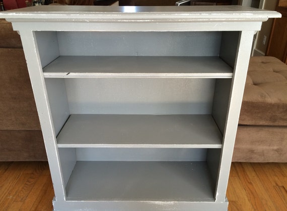 Bookcase, gray distressed, shabby cottage chic