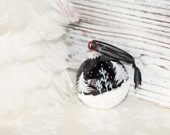 Glass Christmas Ornament, Hand Painted Cardinals N Snowman - White Pines, Aspen, Snow Scene, n Falling snow, on a Glossy Black Ornament