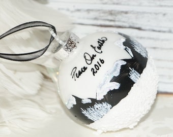 "What the World needs now, ""Peace on Earth"" Hand Painted Christmas Ornament, Snow-Cap Mountains, Aspen, n Glitter, Glass Christmas Ornament"