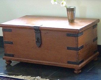 British Colonial Campaign Trunk // Teak // Shipping Included