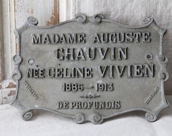Metal French memorial plaque