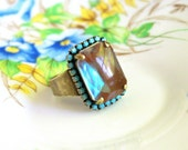 Large Saphiret Glass Ring - Gorgeous Faceted Saphirine Statement Ring - Please Read Description