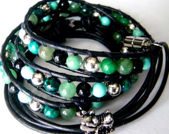 Beaded Leather Wrap Bracelet, Black Leather Bracelet, Dragon Bracelet, Multi Wrap Bracelet, Boho Wrap Bracelet, Green Blue Black Mens Womens