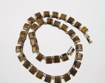 Heavy Modernist 950 Mexican Sterling Silver Tiger Eye Choker Necklace TC-30