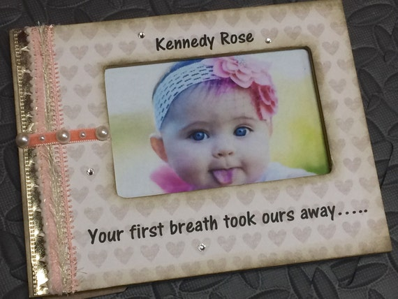 New Baby Frame Coral Gold Your First Breath Took Ours Away 4*6