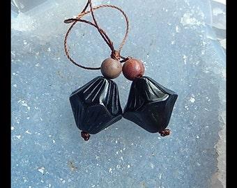 Multi-Color Picasso Jasper,Obsidian Intarsia Gemstone Earring Bead,16x15mm,6x6mm,7.7g