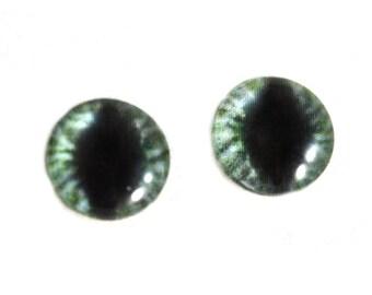 10mm Eyes, Green Cat Eyes, Dragon Glass Eyes, Eye Cabochons, Evil Eyes, Art Doll Eyes, Jewelry Making, Small Eyes, Fantasy Eyes, Taxidermy
