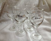 vintage drinking glasses, aperitif, cocktail, wine bistro,  paris, french, cafe, cherry glasses, bisquit,  Vintage glass by ancienesthetique