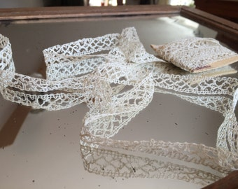 Antique Handmade Lace, Cream Thin Lace, Narrow Loom lace, Handworked Crochet, Delicate accessory, sewing supplies, original old French lace