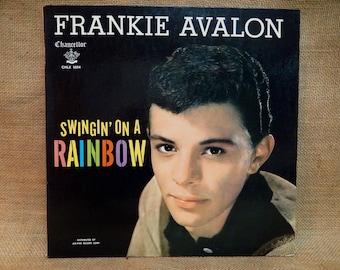 "5TH ANNIVERSARY SALE...Frankie Avalon - Swingin"" On a Rainbow - 1959 Vintage Vinyl Gatefold Record Album"