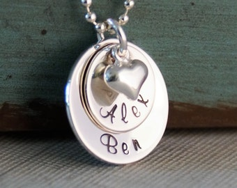 Hand Stamped Mommy Jewelry - Personalized Layered Sterling Silver Necklace - Loved Domed Family Stack of Two by Intentionally Me
