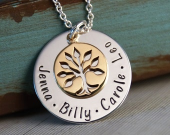Personalized Jewlery - Hand Stamped Mommy / Grandma Necklace - Mixed Metals - Small Generations Family Necklace