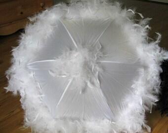 White Second Line Parasol Umbrella- Diner en Blanc- White Party- Bride- Prom- Wedding Umbrella- Authentic New Orleans- wedding parasol