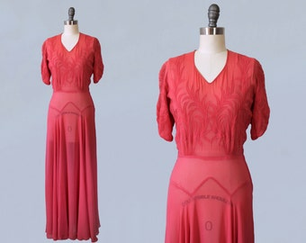 1930s Dress / Late 30s Early 40s Pink Gown / Art Nouveau Applique Bodice / 1940s Evening Gown / BRIDESMAID Dress / Wedding