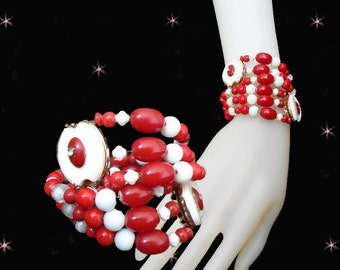 Retro Wrap Bracelet - OOAK 50s Style Bracelet - Red & White - Made with Vintage