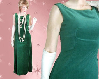 1960s Classic Green Velvet Gown - 60s  Formal Sheath - Jackie Kennedy Style