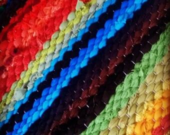 Extra Long Handwoven  vintage look, area rag rug -2.26' x 14.99', random rainbow colour stripes, ready for sale
