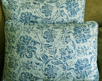 Mariano Fortuny Fabric Custom Designer Throw Pillows Cimarosa Blue White Set of 2 New