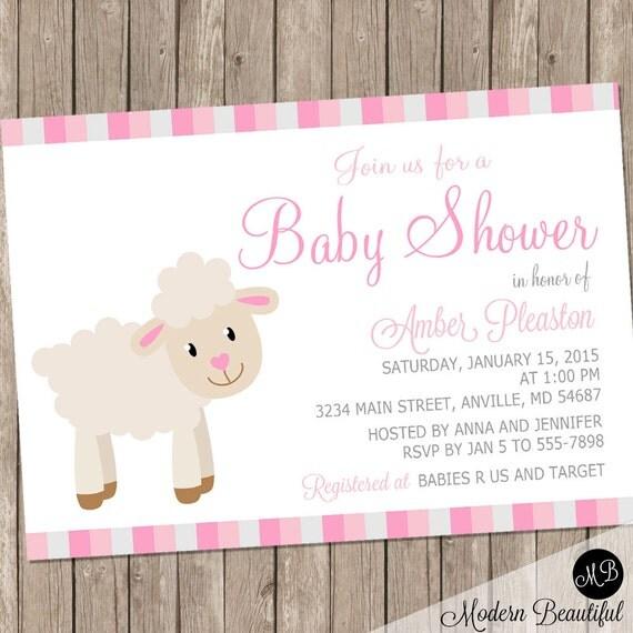 lamb baby shower invitation, girl baby shower invitation, Baby shower invitations