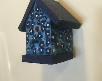Wooden Birdhouse Refrigerator Magnet in Blue