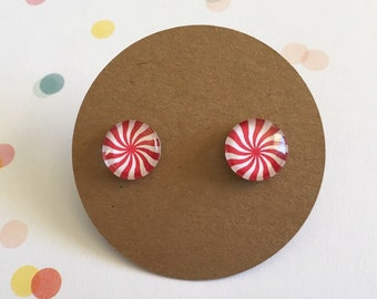Christmas Earrings, Peppermint Candy Earrings on titanium posts