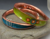 Reserved for MITZIAD Handmade Enameled Wave Bangle Duo
