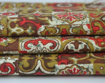 Vintage Upholstry Fabric Red Brown Tan White 1 1/2 yards