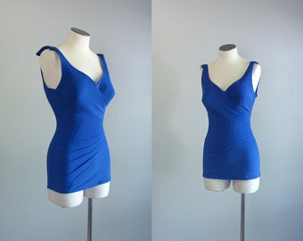 Vintage 1970s Does 1950s Bombshell One Piece Swimsuit. Royal Blue Bathing Suit. XS Small Maillot