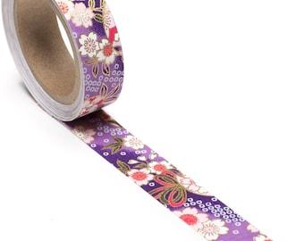 Playful Purple & Pink Hand-Silkscreened Japanese Chiyogami Yuzen Washi Tape