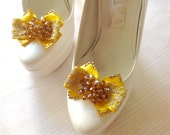 Chiffon Floral Shoe buckle yellow satin bow