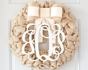 Bridal Shower Gift, Wedding Gift, Engagement Gift, Personalized Gift For Couple, Housewarming Gift For Bride, Custom Initial Wreath