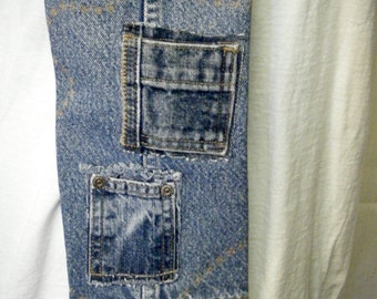 WATER BOTTLE CARRIER Pocket Purse Recycled Denim Jean Bag Two Front Pockets