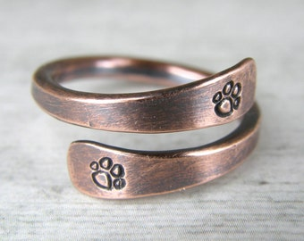 Paw Print Copper Ring, Dog Paw Copper Ring, Stamped Copper Wire Ring, Made To Order