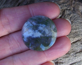 Green Moss Agate Round Cabochon