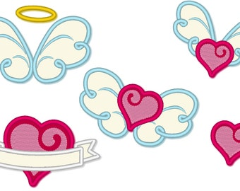 Little angel winged love - machine embroidery and applique designs 4x4 and 5x7 for little angel