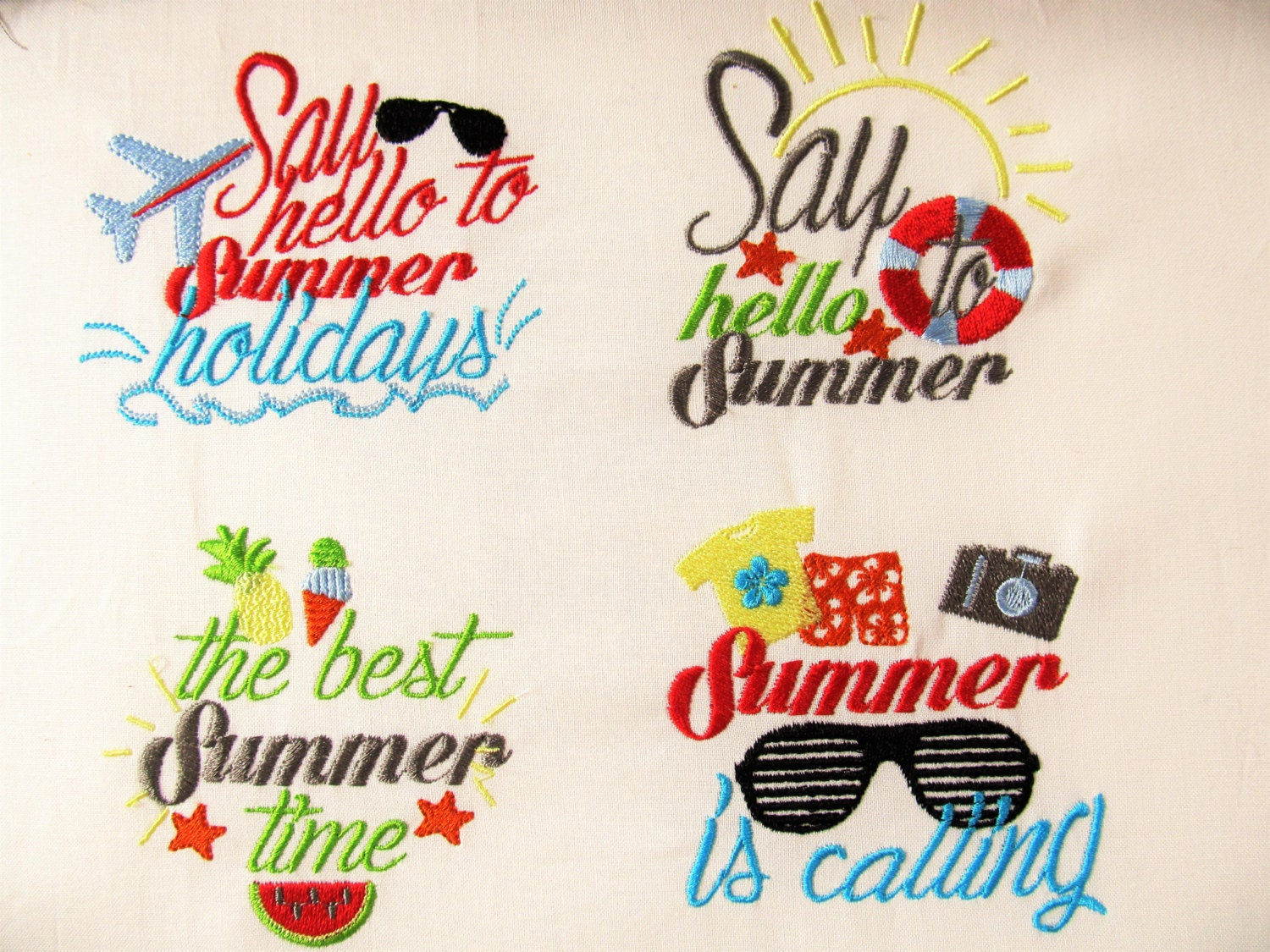 Summer cute quotes machine embroidery designs