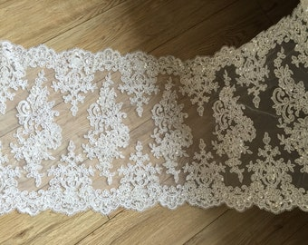 White Alencon Lace Fabric Floral Sequined Peal Beaded Wedding Lace Fabric Dress Coat Fabric 15.35 Inches Wide 1 Yard