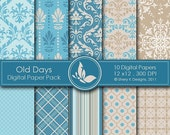50% Off Old Days Paper Pack - 10 Digital papers - 12 x12 - 300 DPI