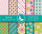 50% Off Spring Paper Pack - 10 Digital papers - 12 x12 - 300 DPI