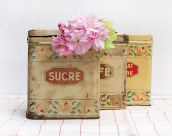 set of 3 French tin canisters set box, shabby chic floral pattern, metal canister, coffee sugar chocolate tins