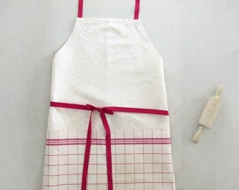 French Linen Kitchen Apron handmade pinny, made in antique metis and vintage French tea towel