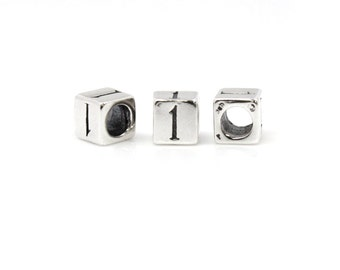 Number Beads Sterling Silver 6mm Number Block '1'  - 1pc 3.8mm Inside Diameter (4044)/1