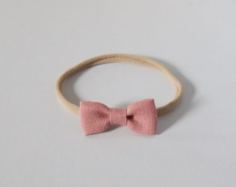 Baby Hair Bow Nylon Elastic Headband - One Size Fits Most - Dusty Rose - baby, toddler