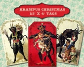 Printable Vintage Style Antique Krampus Christmas Gift Tags from Curious London
