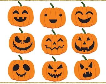 Halloween clip art images,  halloween pumpkin clip art,  jack o lantern clipart, instant download